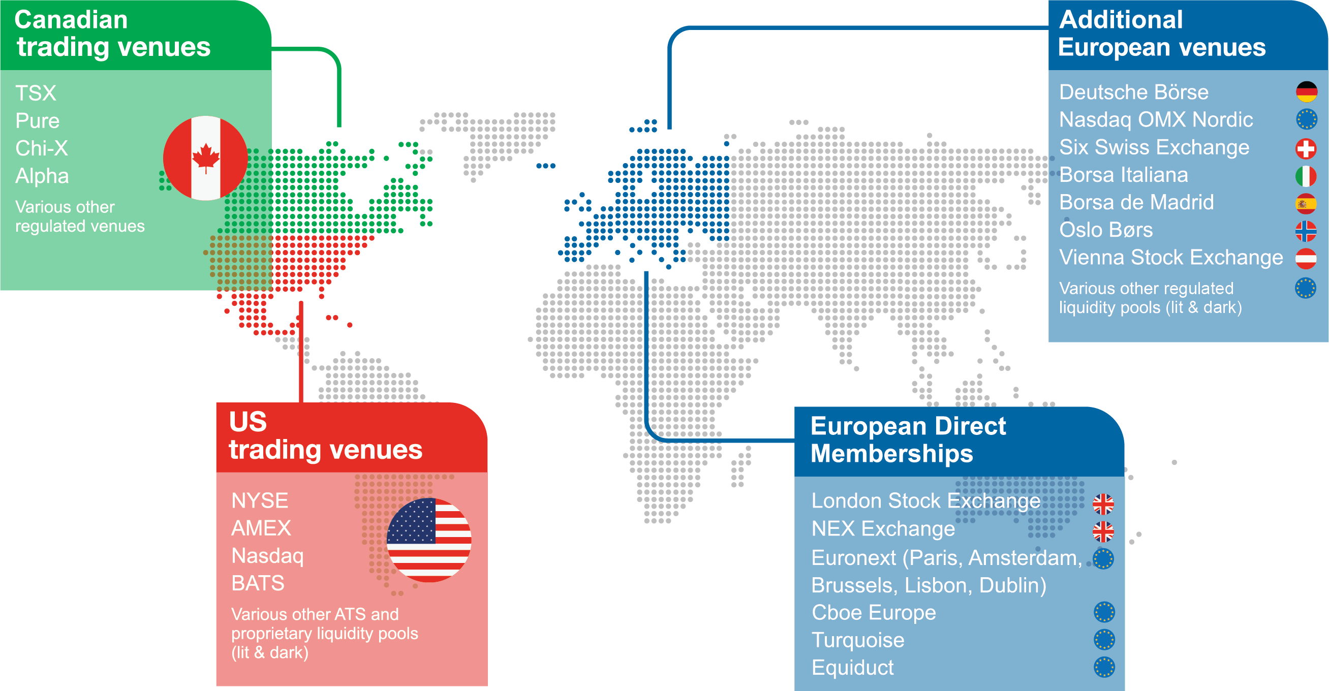 A map of the markets we cover including Canada, the US and Europe.